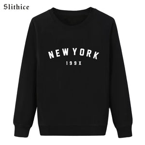 New York Sweatshirt Women Round Neck Slithice Fashion