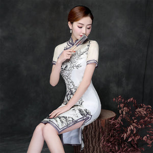 Chinese Vintage Cheongsam Short Sleeve Chinese Traditioanal Costume Lady Short Qipao Mini Slim Dress Chi-Pao 89