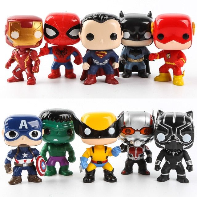 FUNKO POP 10pcs/set DC Justice League & Marvel Avengers Super Hero Characters Model Vinyl Action & Toy Figures for Children