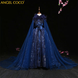 Luxury Princess Girl Evening Dress Shawl Robe De Soiree Beaded Costume Great Gatsby Dress Gown