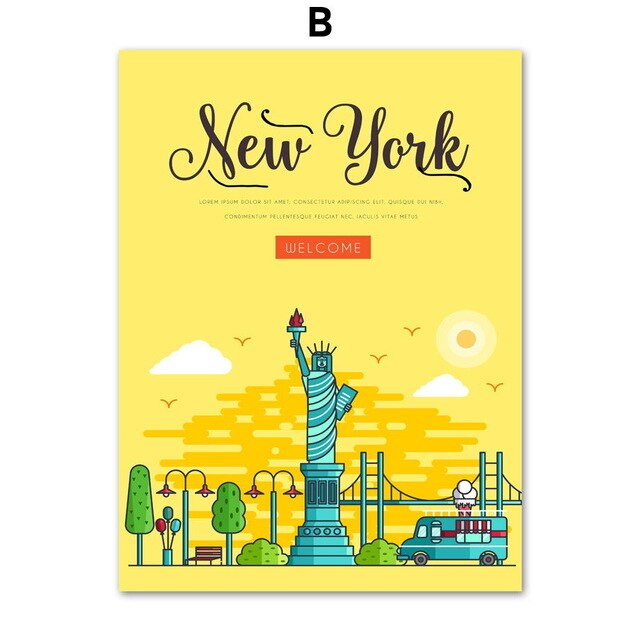 New York Landscape Wall Art Canvas Painting