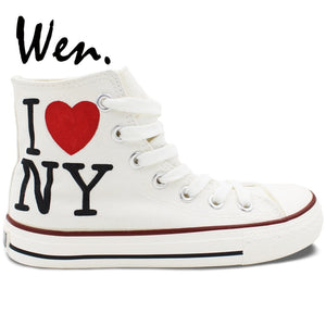 Wen Men Women's Hand Painted Shoes Design Custom I Love New York City White High Top Canvas Sneakers Christmas Birthday Gifts