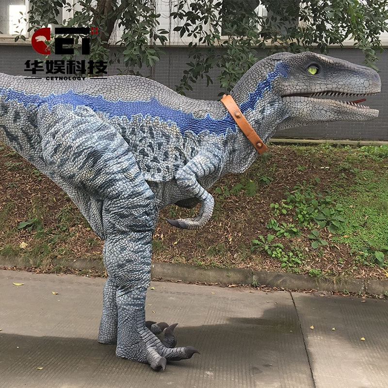 Dino Suit  Blue Raptor Costume for Adult   Mechanical Dinosaur Costume Suit realistic walking dino suit  film props  play prop