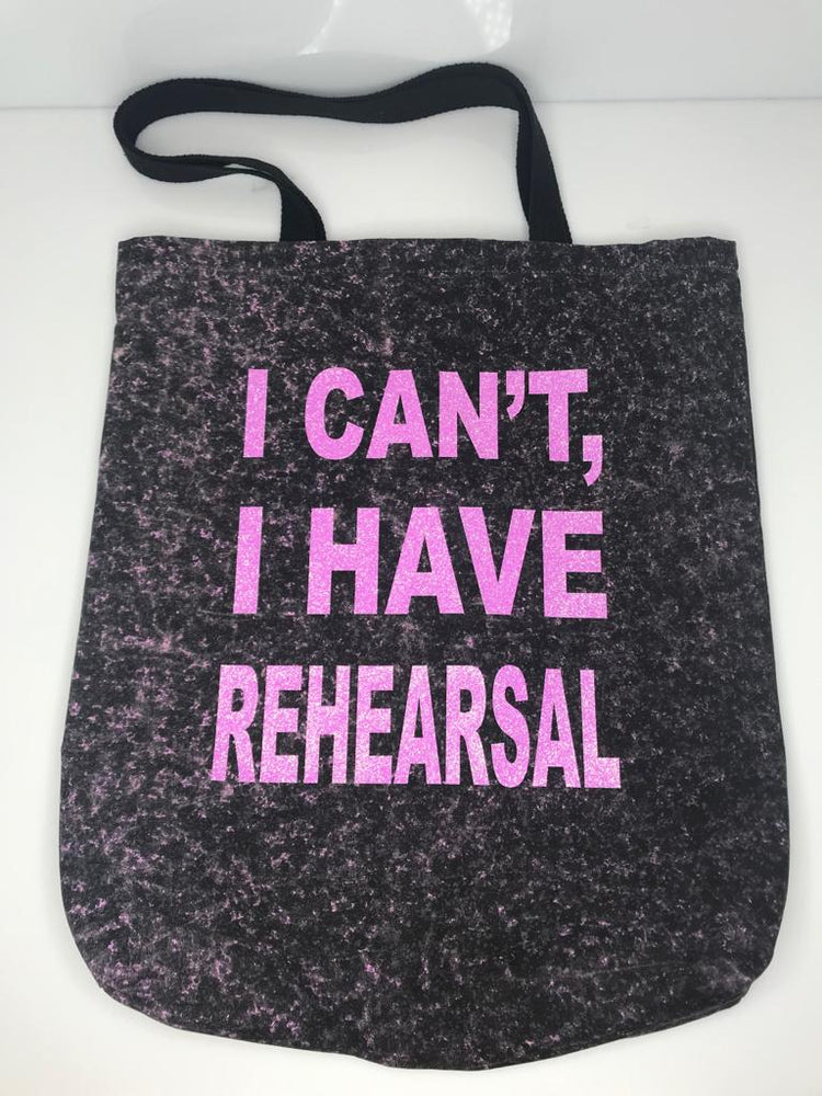"""Rehearsal"" Tote - Pink on black - SceneryBags"
