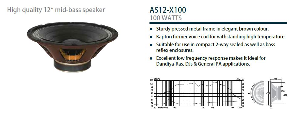 "Ahuja AS12-X100 - 12"" 100 WATTS Professional PA Speaker"