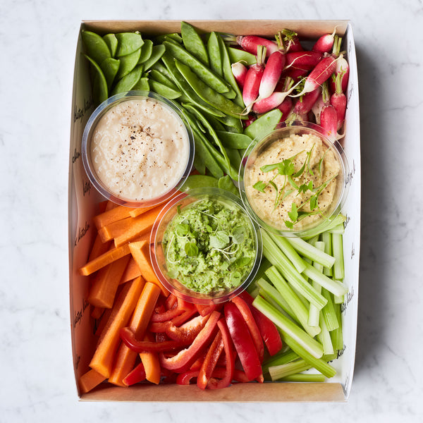 Crudité platter with a selection of hummus & dips (serves 5-10)