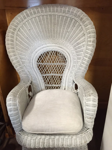 White Wicker Fan Back Chair