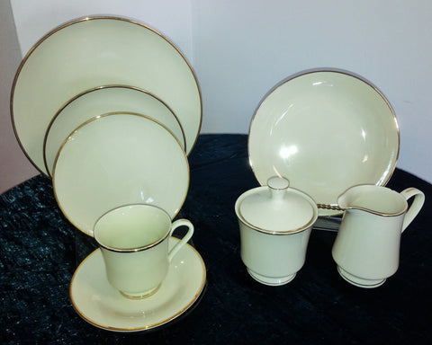 Ivory W/ Gold Band Dinnerware