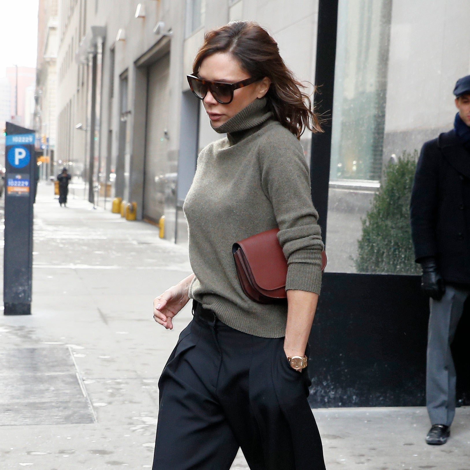 Fashion designer Victoria Beckham, wearing a green turtleneck and pants, as she leaves the Edition Hotel in New York City, New York, USA. Pictured: Victoria Beckham Ref: SPL1439657 110217 Picture by: Christopher Peterson/Splash News Splash News and Pictures Los Angeles: 310-821-2666 New York: 212-619-2666 London: 870-934-2666 photodesk@splashnews.com