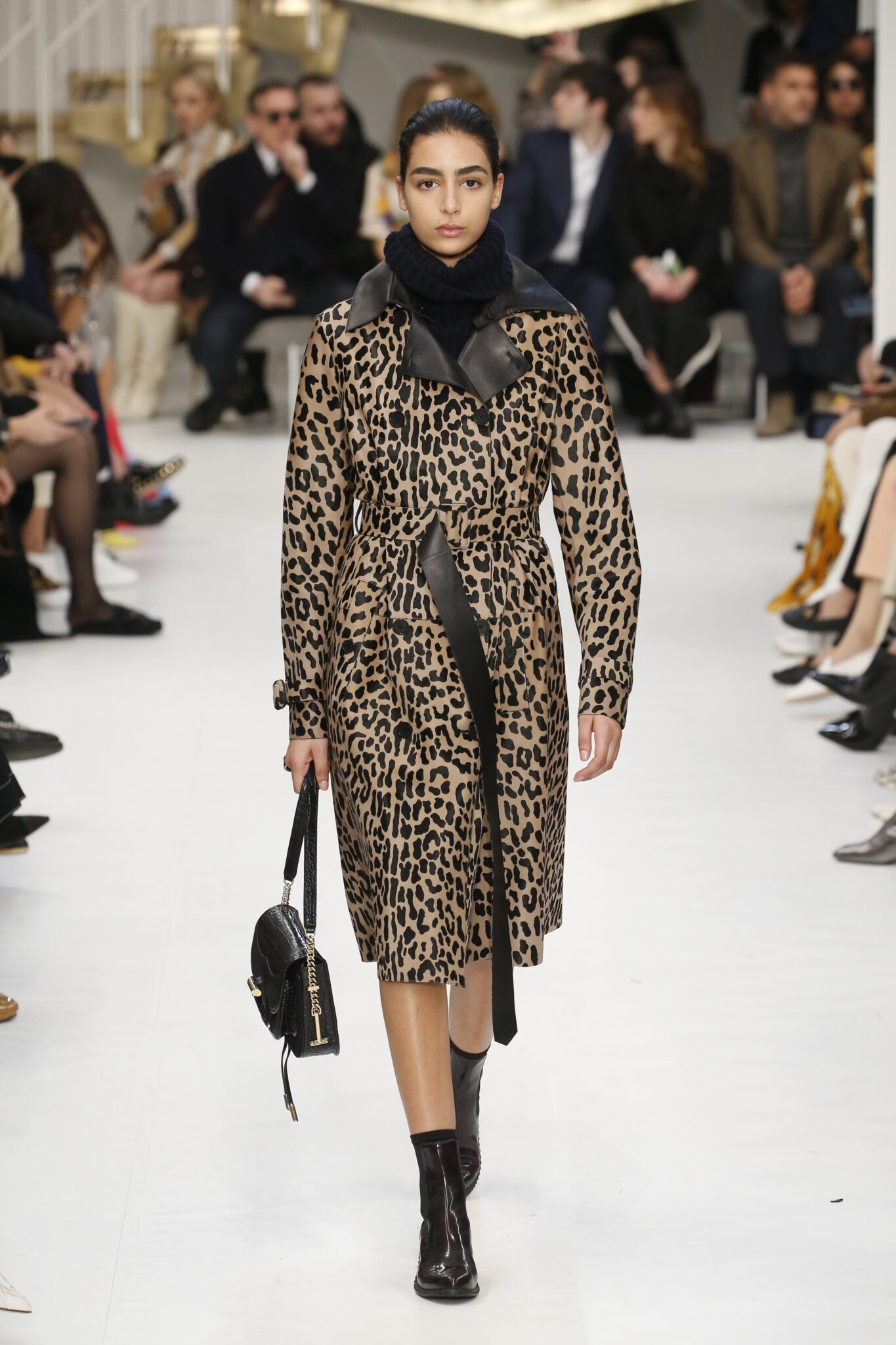 FOR EDITORIAL USE ONLY. Tod's Milan Ready to Wear. Autumn/Winter 2019. Moroccan model Nora Attal.  ALTERNATIVE IMAGES AVAILABLE ON REQUEST.