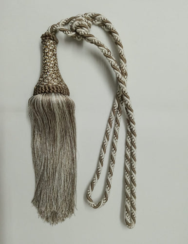 White & Mouse Gray Tassel Tieback (set of 2) T70-WE-MY