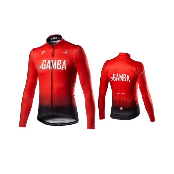 inGamba Men's Thermal Long Sleeve Red&Black Jersey Cycling Clothing Castelli