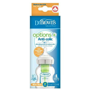 Dr Brown's 150 ml Wide Neck Feeding Bottle Options+ with Level 1 Teat, 1 Pack