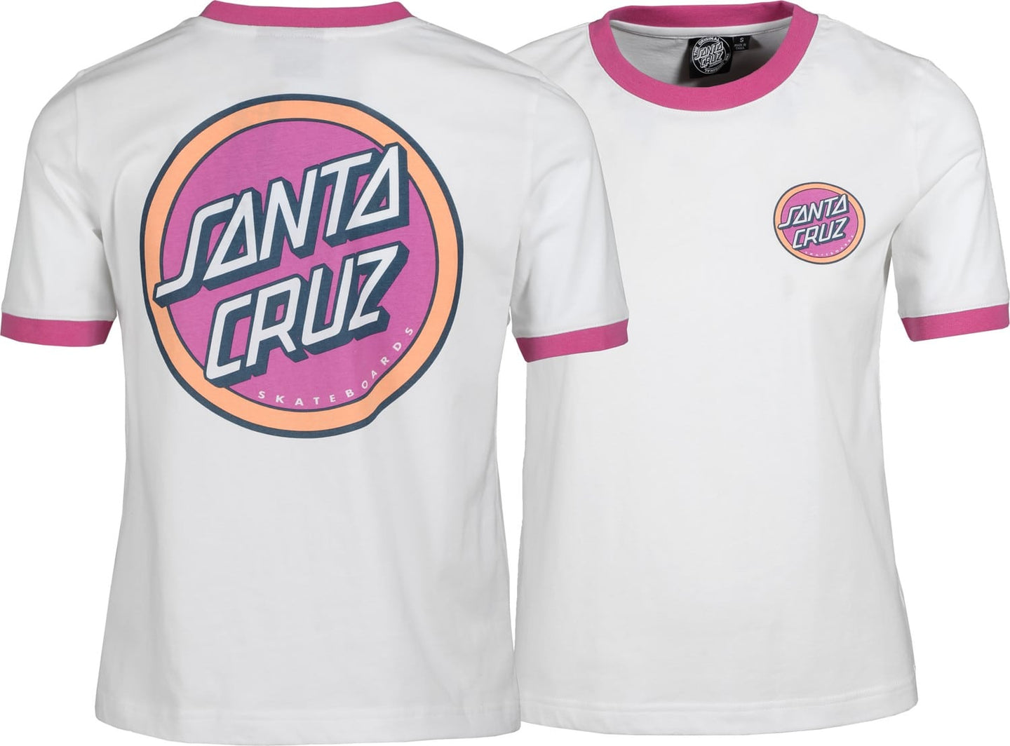 Santa Cruz Womans Retro Dot Tee Wht