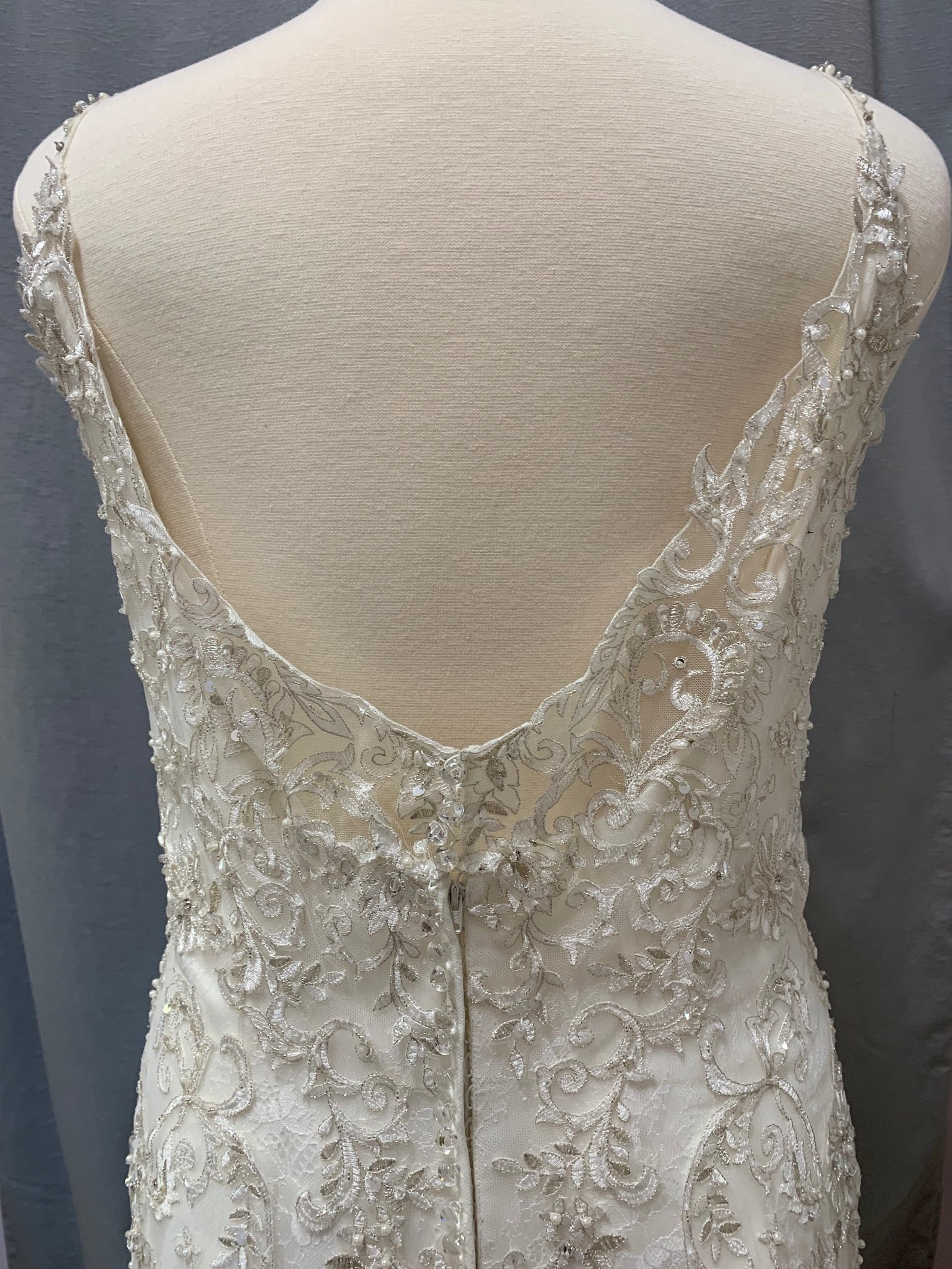 Rebecca Ingram - Claire Anne - Size 24 - Ivory/Pewter Accent