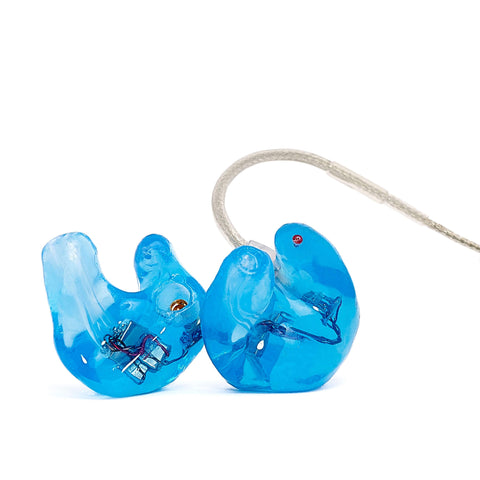 3MAX custom earphones, crystal blue option, soft silicone