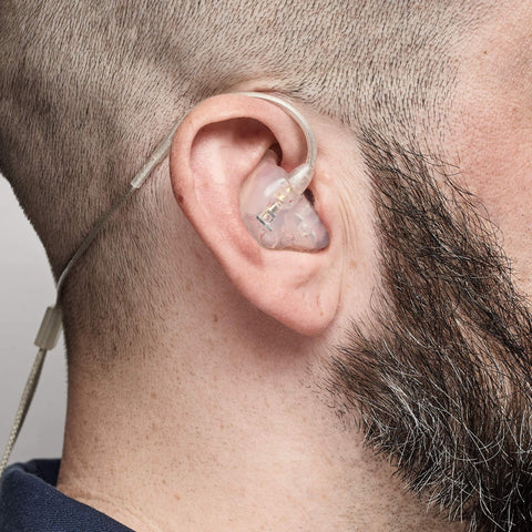 D2 dual dynamic IEM being worn, side view