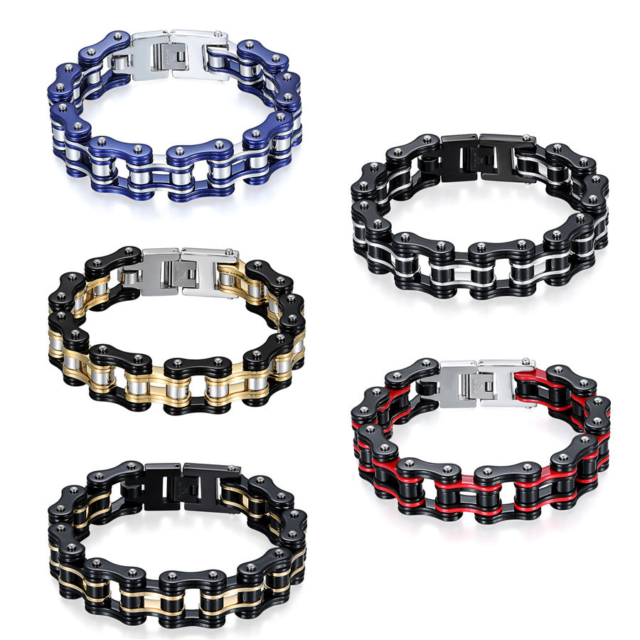 Men's Motorcycle Link Chain Stainless Steel Bracelet