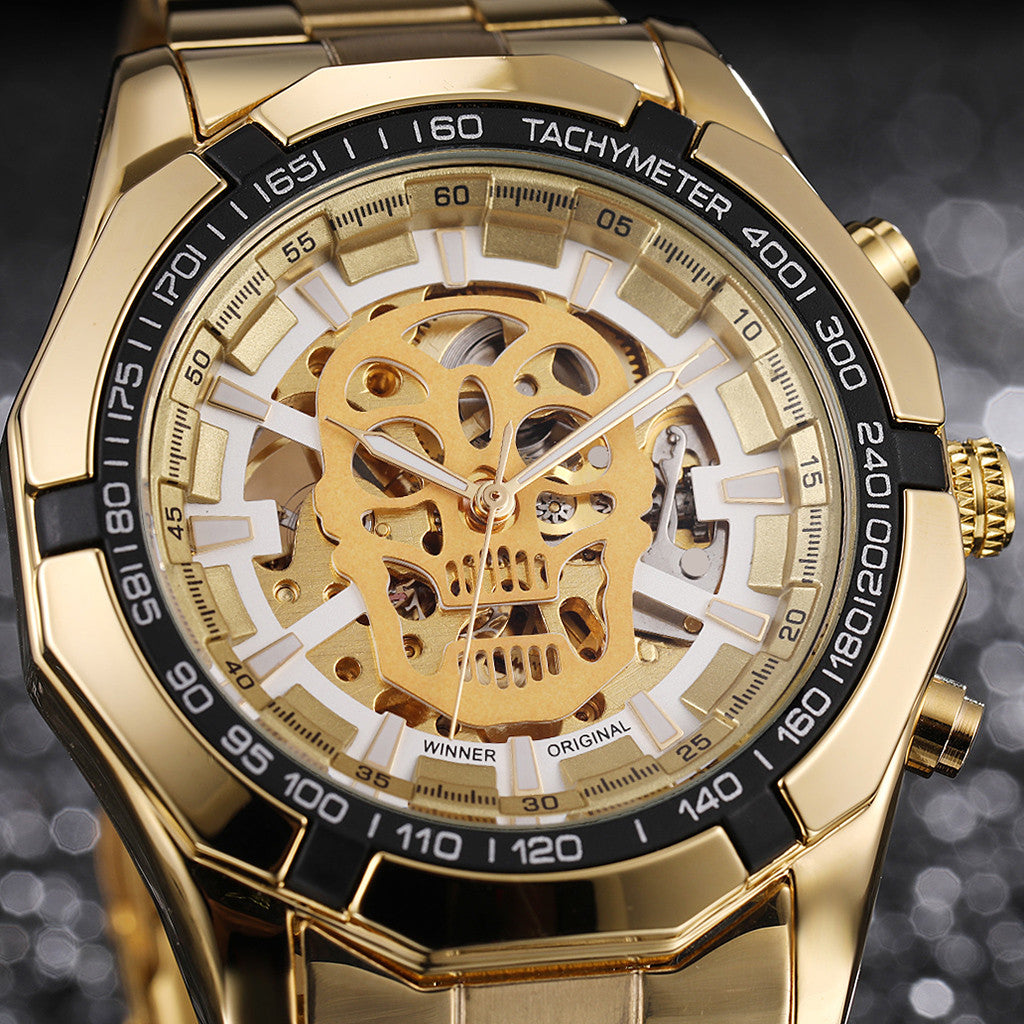 Luxury Automatic Self Wind Stainless Steel Skull Watch