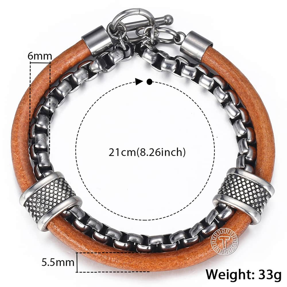 Men's Leather & Stainless Steel Toggle Clasp Bracelet