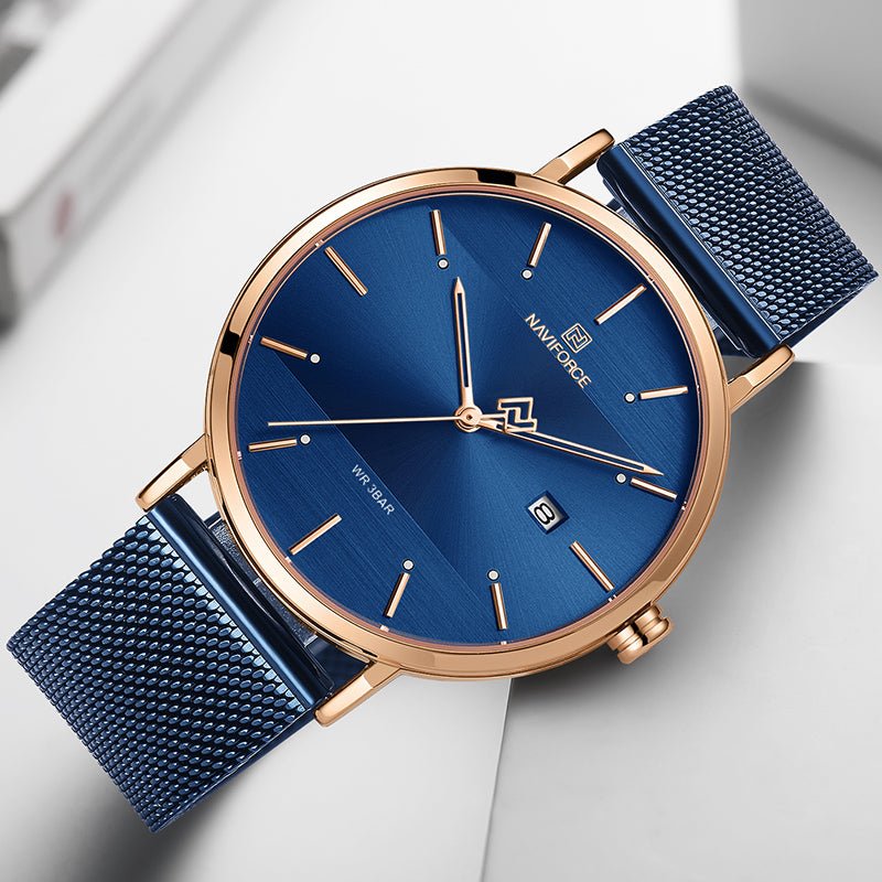 Men's Stylish Classic Blue & Gold Watch
