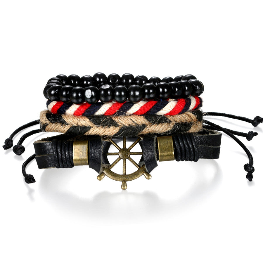 Ship's Wheel Multi Layer Mixed Leather Bracelet