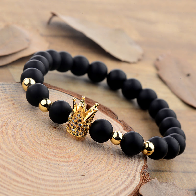 Black Stone Crown Bracelet