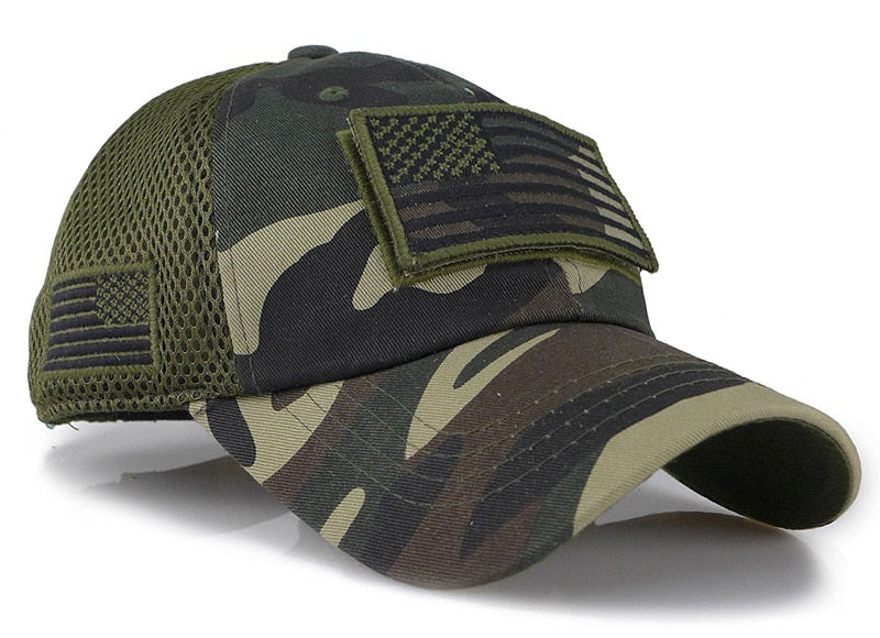 Camouflage Army Baseball Cap With USA Flag Patch