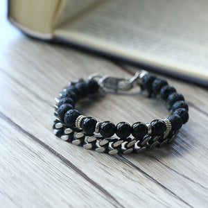 Black Lava Beaded Stainless Steel Cuban Link Bracelet
