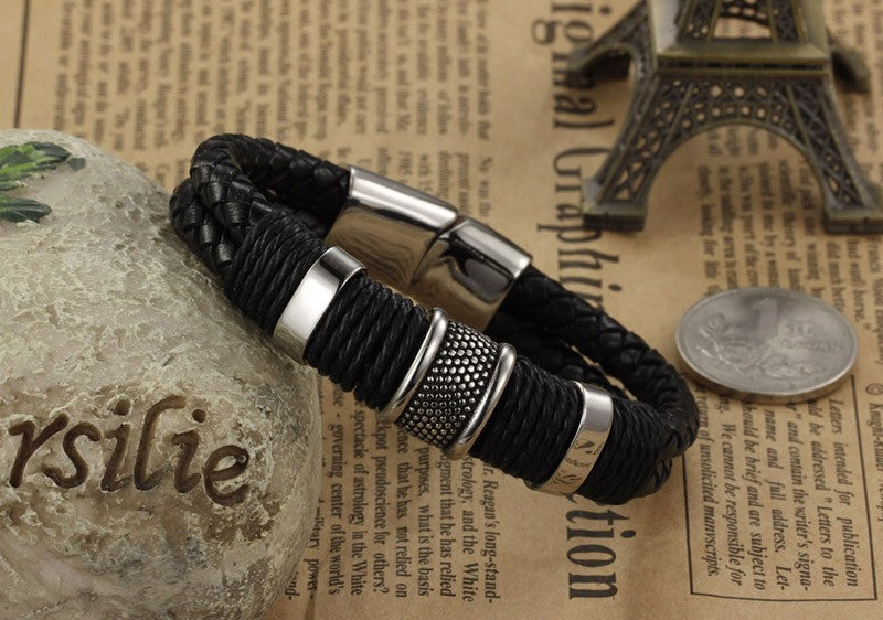 Men's Classic Wide Weave Leather Bracelet