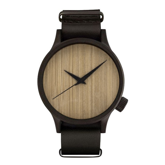 Men's Bamboo Wooden Watch With Leather Strap