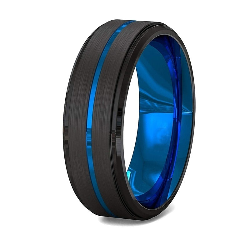 Men's Black Brushed Stainless Steel Blue Groove Ring
