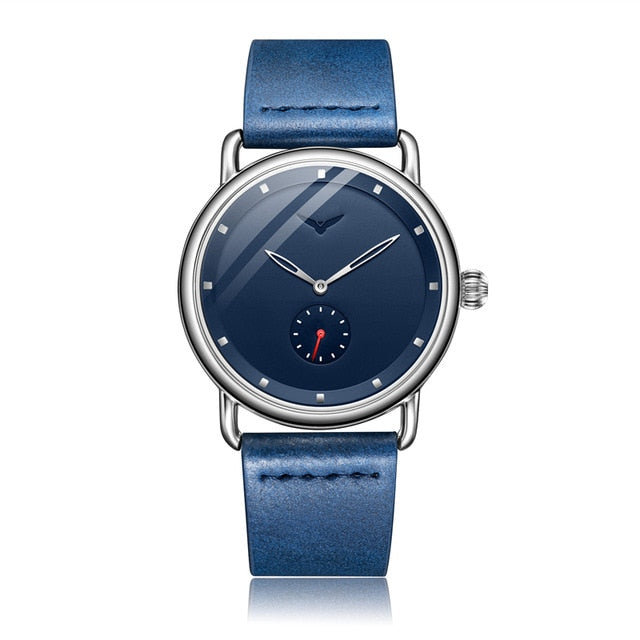 Men's Fashion Blue Stainless Steel Leather Band Watch