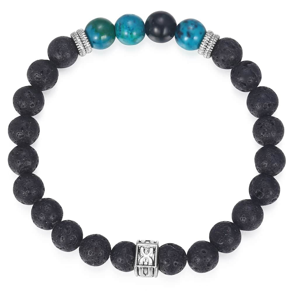Natural Lave Stone Beads Bracelet