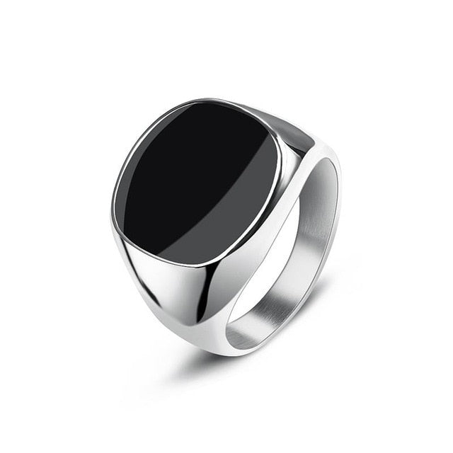 Men's Stainless Steel Black Enamel Signet Ring