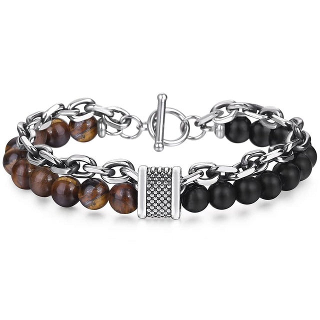 Natural Stone with Stainless Steel Bracelet Combo