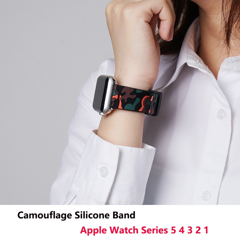 Camouflage Pattern Soft Silicone Apple Watch Band