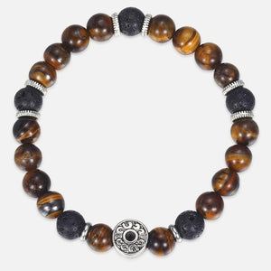 Yellow Tiger Eye Stone Black Lava Beaded Bracelet