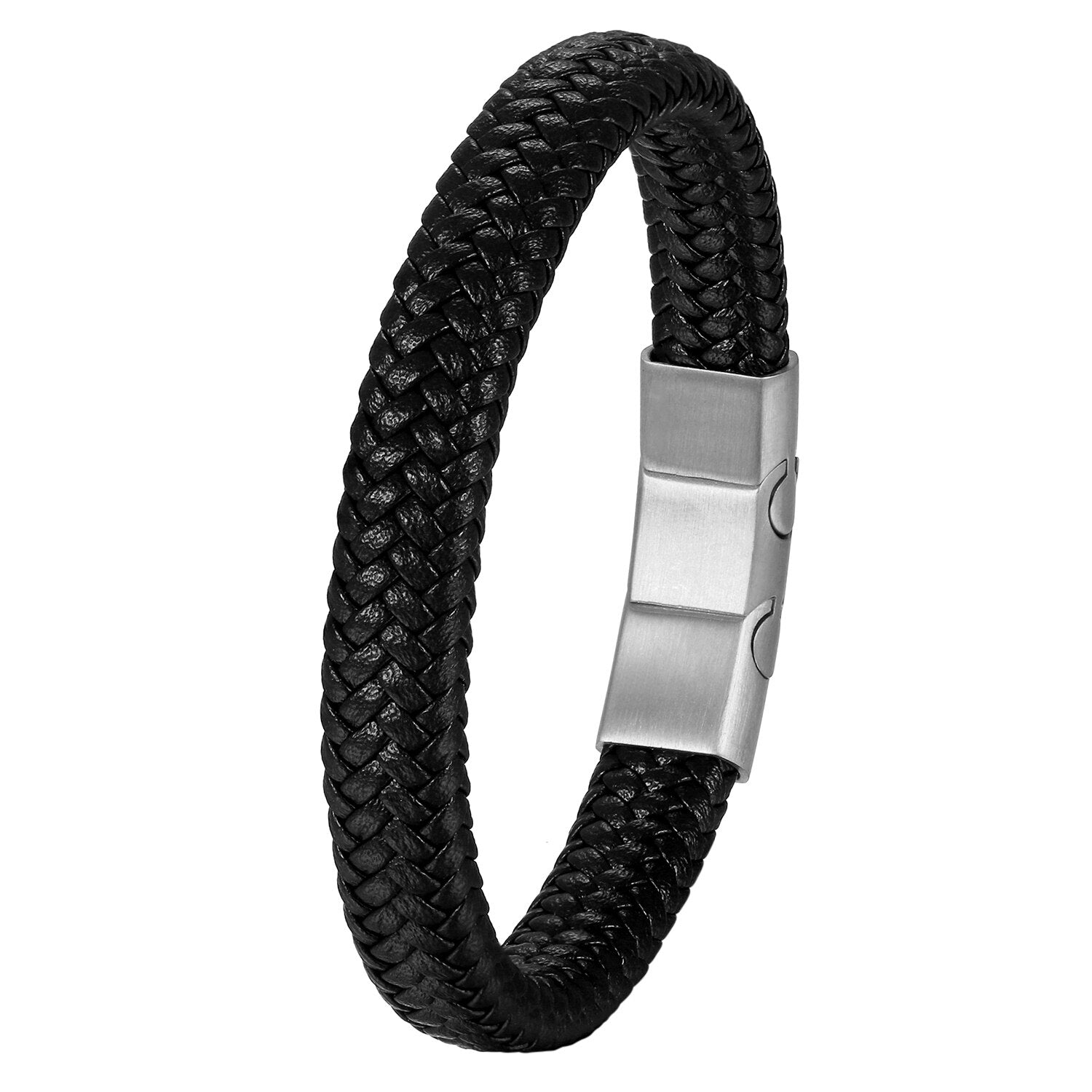 Men's Leather Bracelet With Stainless Steel Clasp