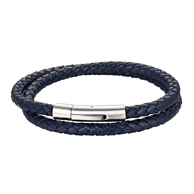 Hand-Woven Leather Bracelet With Stainless Steel Clasp