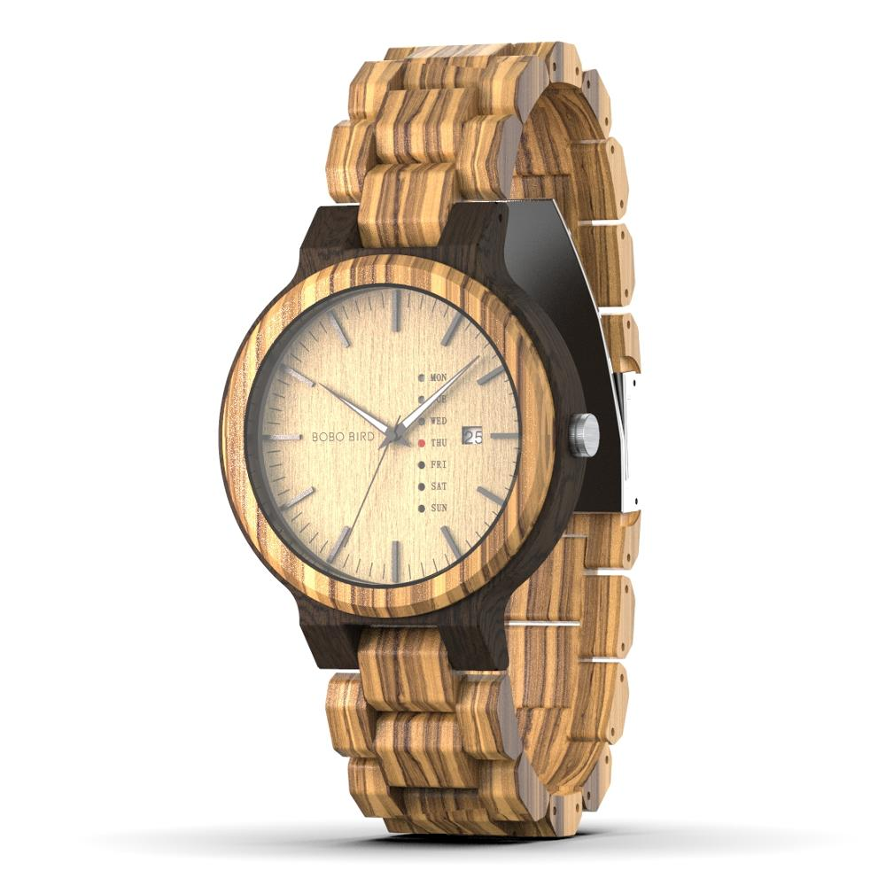 Wooden Quartz Watch With Date & Date Display