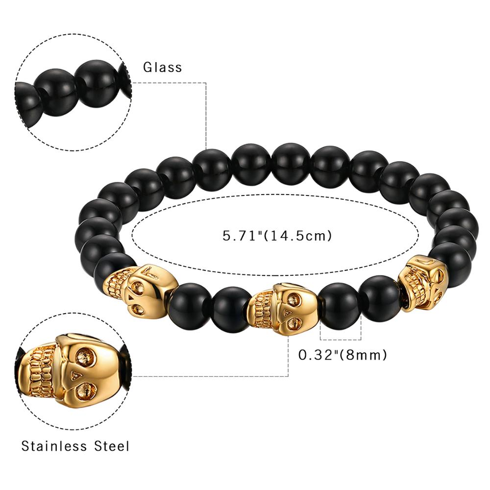 Beaded Stainless Steel Skull Bracelet