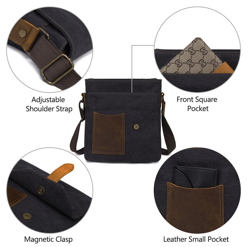 Men's Small Canvas & Leather Messenger Bag
