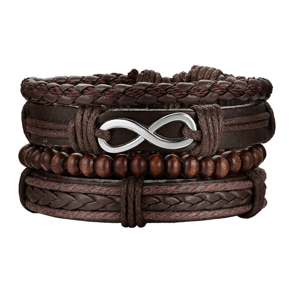 Hand-Woven Multi-Layer Leather & Beads Adjustable Bracelet