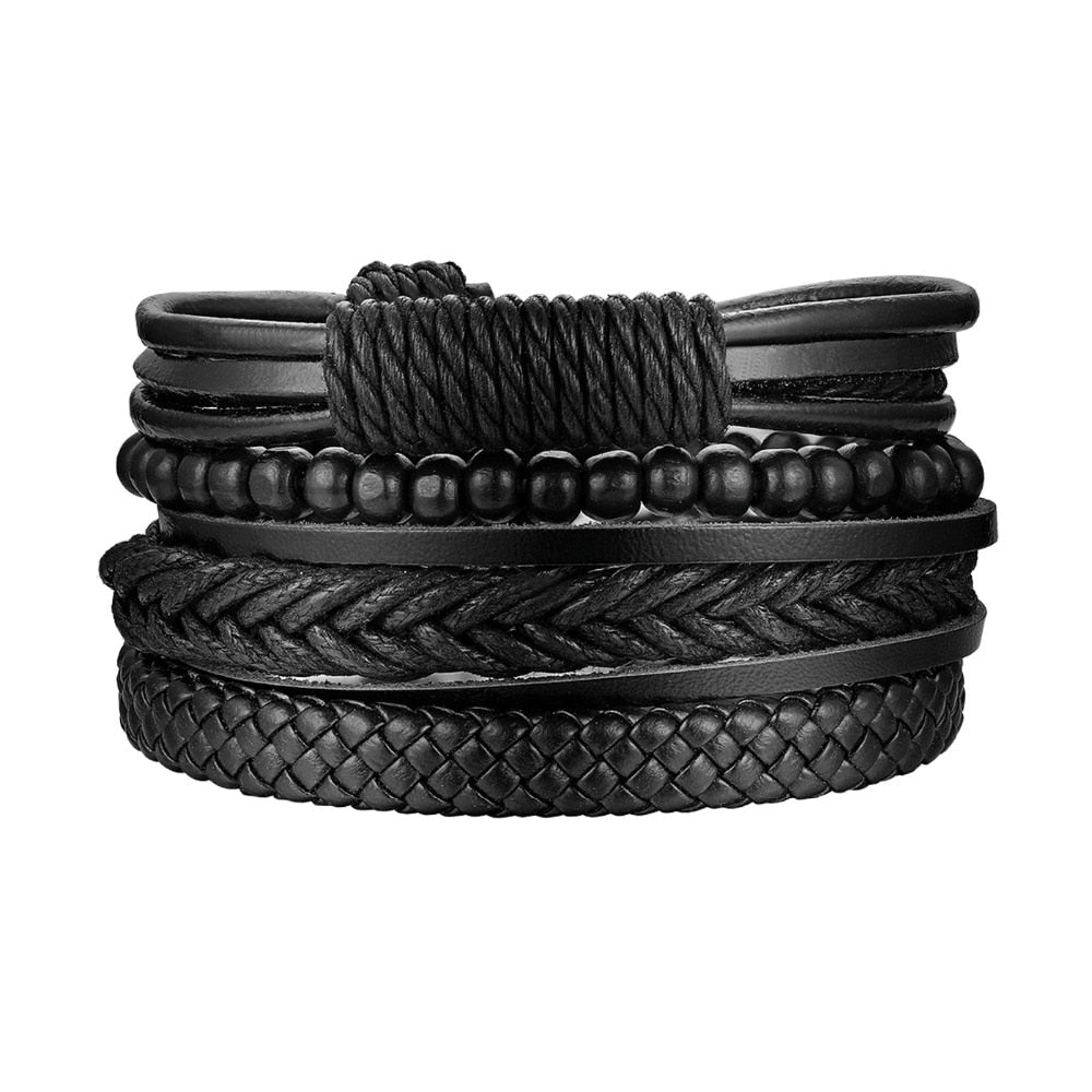 Hand-Woven All Black Multi-Layer Leather & Beads Adjustable Bracelet