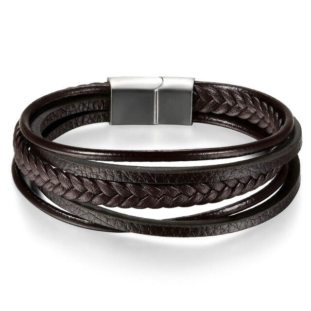 Men's Multi-Layer Leather Bracelet - Brown