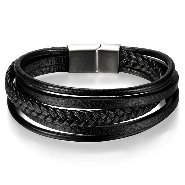 Men's Multi-Layer Leather Bracelet - Black