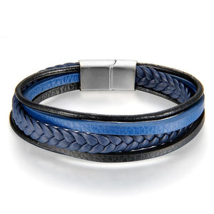 Men's Multi-Layer Leather Bracelet - Blue