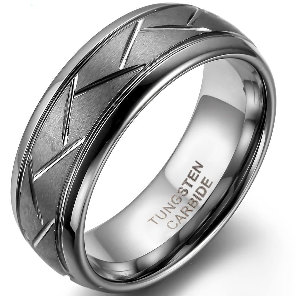 Men's Grey Brushed Tungsten Carbide Ring