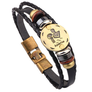 Men's Aquarius Zodiac Leather Bracelet